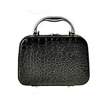 Mini Cosmetic Storage Suitcase Crocodile Pattern Toiletry Handbag Travel Necessities Organizer - Black