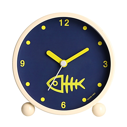 Cute 4 Inch Metal mute Desktop clock Round Alarm Clock with Backlight  Children Students Silence Clocks(deer)