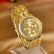 Full Diamond Women's Alloy Bracelet Watch Three Eyes Steel Watch-gold