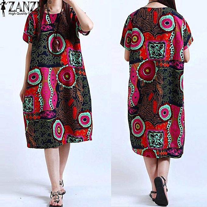 03741e6ae3971 ZANZEA Women Oversized Floral Printed Crewneck Short Sleeve Shirt Dress  Retro Ladies Summer Dress Vestido Plus