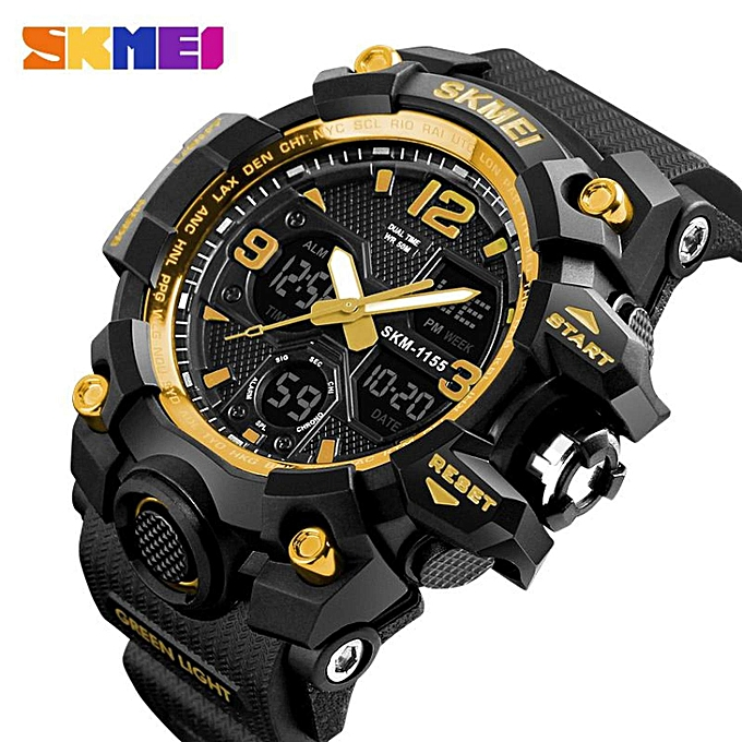 Skmei SKMEI Men Sport Watches Digital Chronograph Dual Display Alarm Watch  50M Watwrproof EL Light Wristwatches Jam tangan lelaki 1155B WWD b9fab6cbbd