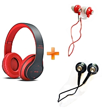 Wireless Bluetooth 4.2 Stereo Headphone P15 For Mobile Phones  -Red,Get Two Free Ofia Earphones