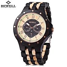 BEWELL ZS - W116C Male Wooden Quartz Watch Date Day Display Roman Numerals Scale Wristwatch