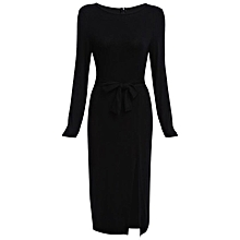 Long Sleeve Slit Dress for Ladies - Black