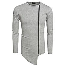 COOFANDY Men Fashion Round Neck Long Sleeve Zipper Irregular Hem Streetwear Hip Hop Style T Shirt ( Grey )