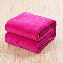 Fuchsia Plain Fleece Blanket Throw #160x220cm