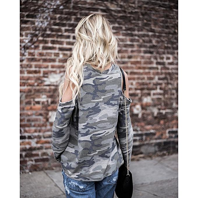 bfc87d731b8e8d Generic Women Off Shoulder Camouflage Long Sleeve Blouse Tops T-Shirt