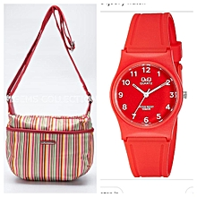 Rainbow Striped Sling Bag Plus FREE Watch