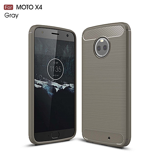 100% authentic 251c6 a8185 For Motorola Moto X4 Case Shockproof Carbon Fiber TPU Drawing Material  Phone Cases Cover For MOTO X4 Protective Back Cover Case (Grey)