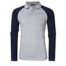 Yong Horse Men's Two Tone Color Blocked Modern Fit Long Sleeve Polo Shirt Color:Gray With Blue Sleeves Size:2XL