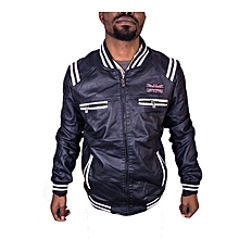 Jacket Casual Zip Up Leather For Men All Weather - Black