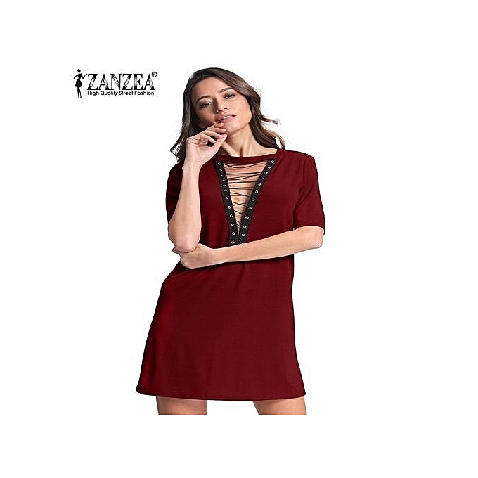 db713f63dcb ZANZEA Women Short Sleeve Deep V Plunge Low Cut Cluwear Long Shirt Mini  Dress (Wine