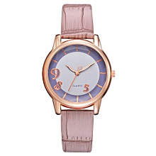 Watch Women Fashion Luxury Leisure Set Auger Leather Stainless Steel Quartz Watch -Rose Gold