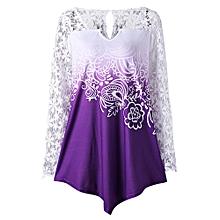 Plus Size Lace Yoke Ombre Top - PURPLE