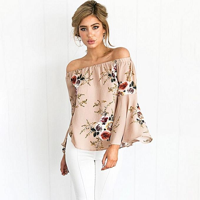 4b0f21a254 Women Floral Off Shoulder Long Sleeve Loose Asymmetry Hem Blouse Tops  Apricot