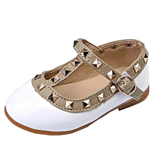 Baby Girl Princess Shoes Child Rivet Leather Dancing Shoes- White