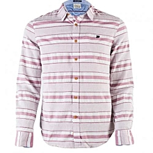 White Shirt With Maroon Stripes