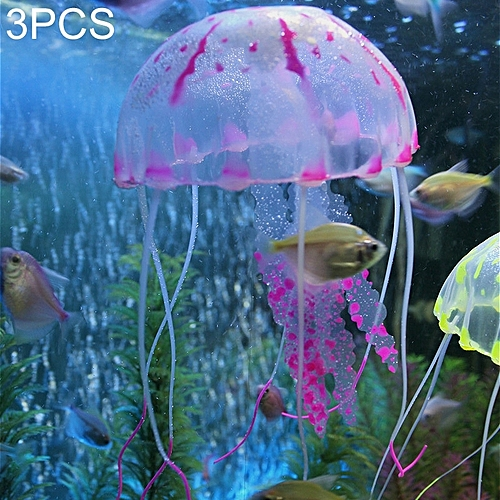 Generic 3 PCS Aquarium Articles Decoration Silicone Simulation Fluorescent  Sucker Jellyfish, Size: 5*17cm (Purple)