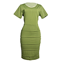Lime Green Bandage Official Dress With A Detachable Pearl Necklace
