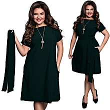 Women Plus Size Dress Short Sleeve Casual O-neck Solid Knee Length-green