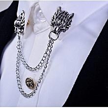 2016 Silver Chain Dragon Wolf Tiger Brooches Collar Pins Lapel Pin Brooch Pins Men Tassel Chain Brooch