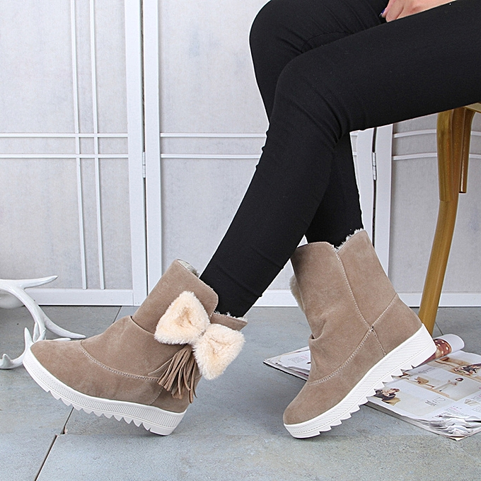 f82bc8e914449 Women Winter Fashion Snow Boots Female Ankle Boots Bow Woman Casual  Shoes-Khaki -CN SIZE