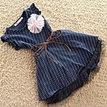 Girl Dark Blue Dots Dress with Belt Pink Brooch Black Gauze Dresses