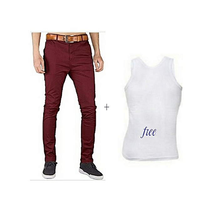 Mens Chinos Trouser Pant Maroon Stretch Slim Fit Free White Vest
