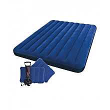 Classic Downy Airbed Set with 2 Pillows & Double Quick Hand Pump - Queen - Blue