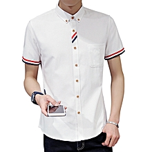 Stylish Fashion Oxford Textile Short Sleeve Slim Fit Button down Shirts for Men
