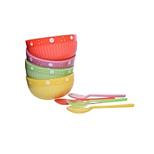 Set of 4 Plastic Jelly Bowls - Red, Yellow, Green & Purple