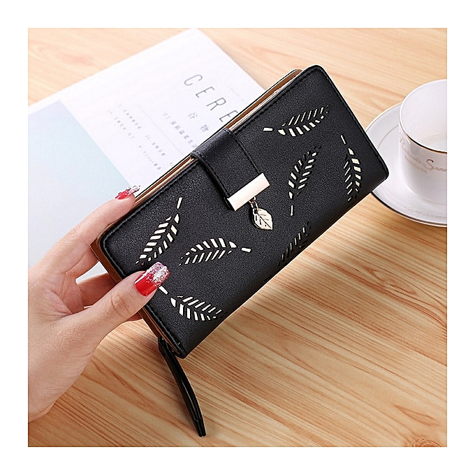 8a26e22cae3a Women Wallet Purse Female Long Wallet Gold Hollow Leaves Pouch Handbag For  Women Coin Purse Card Holders Clutch Bag(Coffee)