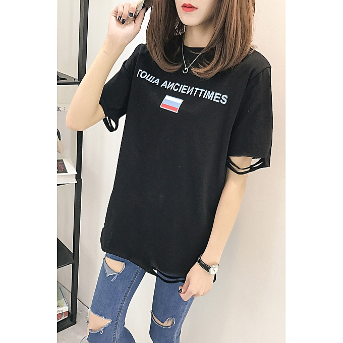 493fbb37e690 ... Half-sleeved Shirt(China size) · Summer New Short-sleeved T-shirt Female  Loose Korean Students Wild Letter Hole Was