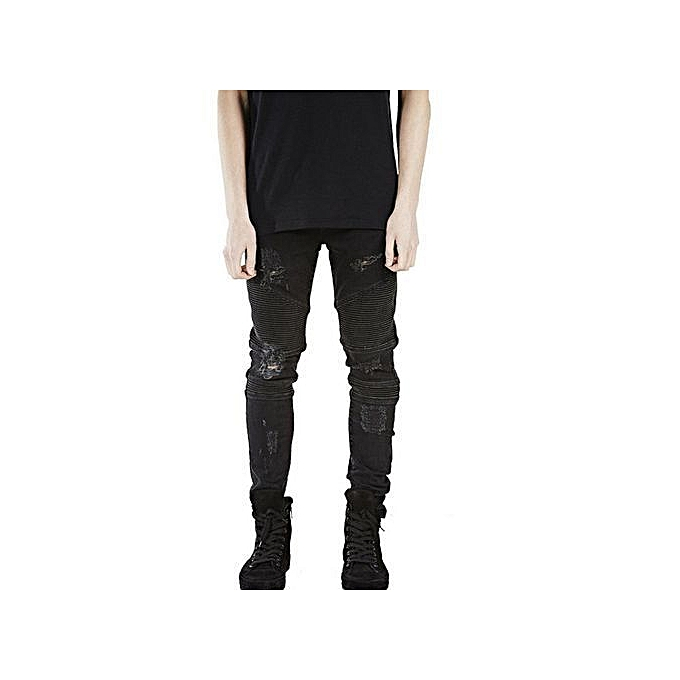 Honey Fashion Vintage Mens Ripped Jeans Pants Slim Fit Distressed Hip Hop Denim Pants Men Blue Stretch Jeans Pants 44-54 Free Shipping Men's Clothing