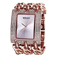 Women Fashion Rhinestone Inlaid Square Case Alloy Bracelet Band Analog Quartz Wrist Watch(Rose Gold + Silver)