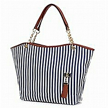 woman striped convas handbag