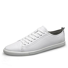 Genuine Leather Sneakers For Men Skate Shoes (White)