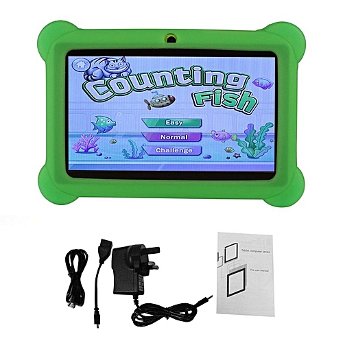 7 inch Children Kids Tablet Dual Camera Tablet With Cover for Android 4.4 green