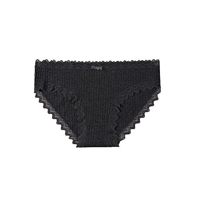 a3f650367019 Sweet girl underwear female cute seamless underwear lace side student  cotton briefs-deep grey