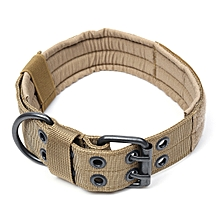 1000D Nylon Military Tactical Dog Collar with Metal Buckle Dog Training Collar L Black