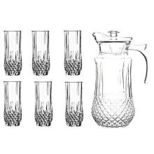 Quality Tableware Serving Crystal Juice/Water Glasses Jug Set - 7pcs