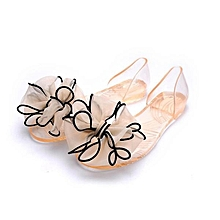 Fashion Women Beach Sandals Flip Flops Flats Shoes Summer Jelly Crystal Slippers Champagne-EU