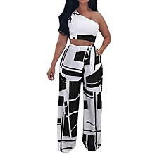 Women Nightclub Fashion Clothes Club Sexy Strapless Bandage  Two Piece Set