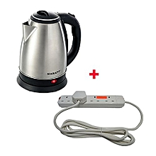 Cordless Electric Kettle - 2Litres With 4-way Red Lable Extension cable - Silver