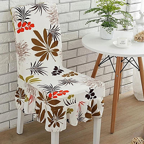 Generic Elegant Flower Elastic Stretch Chair Seat Cover With Skirt Hem Dining Room Home Wedding Decor Best Price