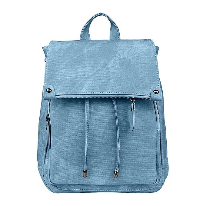 d4e593f7c0 Africanmall store Women Fashion Leather Backpacks School Bag for Teenage  Girls Travel Rucksack BU-Blue