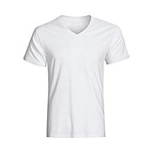 V Neck Plain White T-Shirt