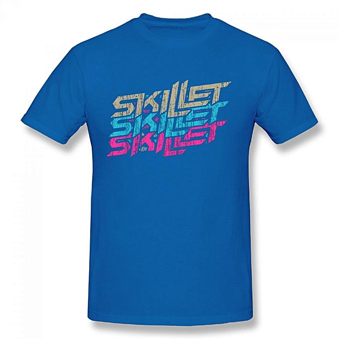 938526e46a Skillet Multicolor Logo Men's Cotton Short Sleeve Print T-shirt Blue