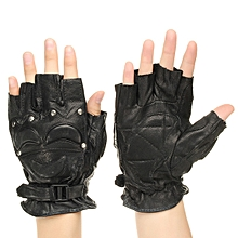 Half Finger Leather Gloves Protective Men's Boxing Sports Motorcycle Cycling Biker Black