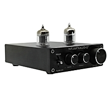 FX-AUDIO TUBE-03 Mini HiFi Audio Preamplifier 6K4 Vacuum Tube Amplifier Buffer Treble Bass Adjustment RCA Preamp Black US Plug
